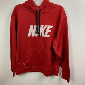 NIKE THERMA FIT HOODIE SWEATSHIRT RED MENS LARGE